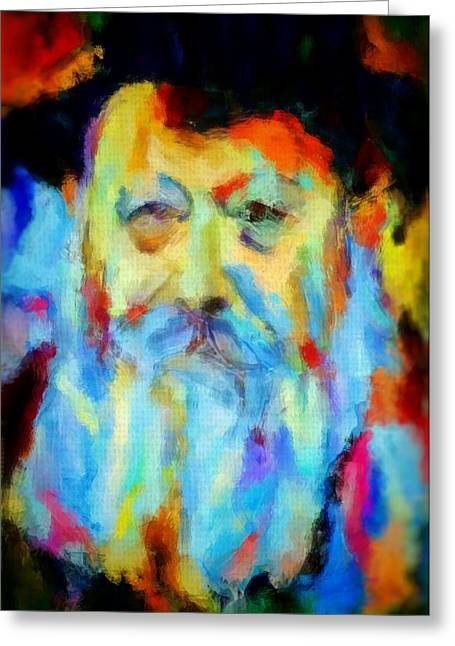 Chabad Lubavitch Rebbe Colorful Bright Acrylic Painting Menachem Schneerson Rabbi Crown Heights Rainbow Greeting Card