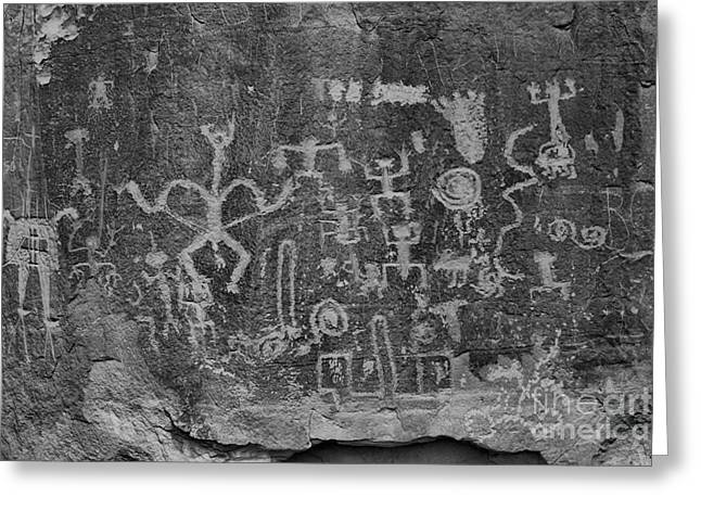 Greeting Card featuring the photograph Chaco Canyon Petroglyphs Black And White by Adam Jewell