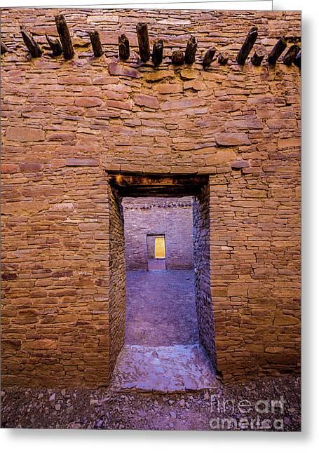 Chaco Canyon - Pueblo Bonito Doorways - New Mexico Greeting Card