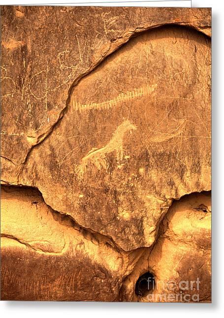Chaco Horse Petroglyph Greeting Card