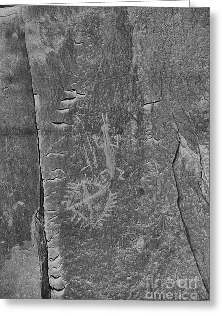 Greeting Card featuring the photograph Chaco Petroglyph Figures Black And White by Adam Jewell