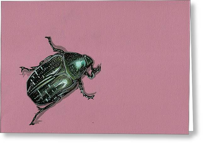 Greeting Card featuring the painting Chaf Beetle by Jude Labuszewski