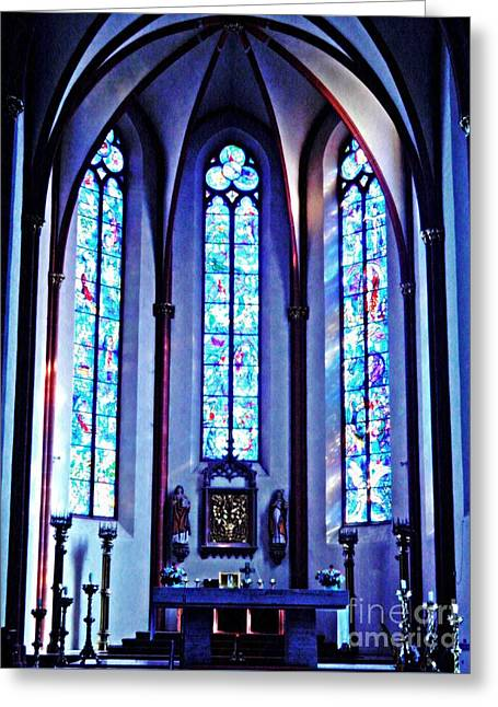 Chagall Windows In St Stephen's Church 1   Greeting Card