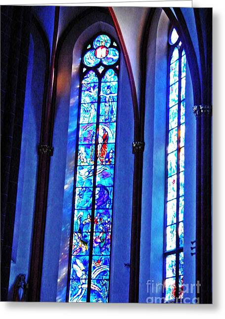 Chagall Windows In St Stephen's Church 2 Greeting Card