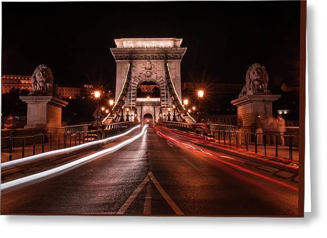 Chain Bridge At Midnight Greeting Card by Jaroslaw Blaminsky