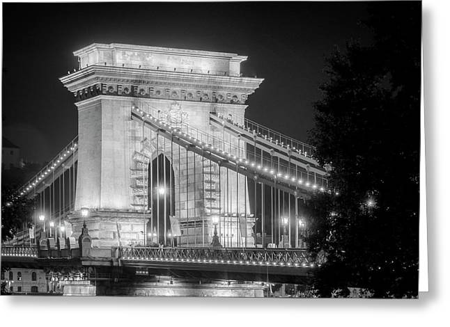 Chain Bridge Tower Night Bw Greeting Card