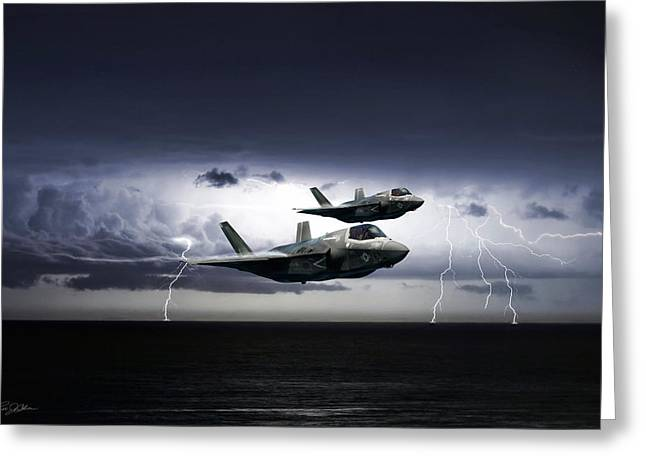 Greeting Card featuring the digital art Chain Lightning by Peter Chilelli