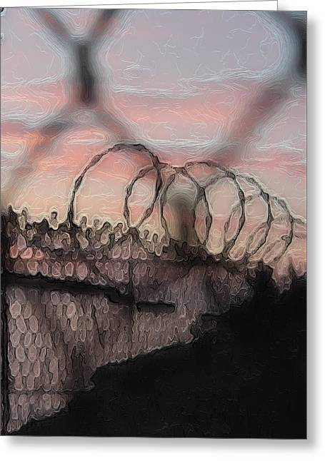 Chain Link Sunset Greeting Card