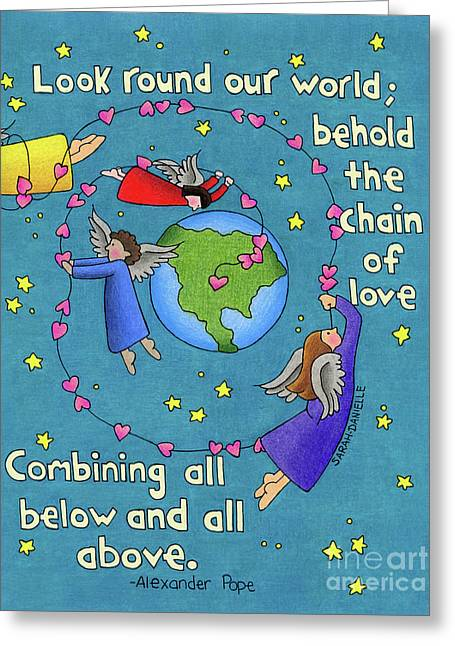 Chain Of Love Greeting Card by Sarah Batalka
