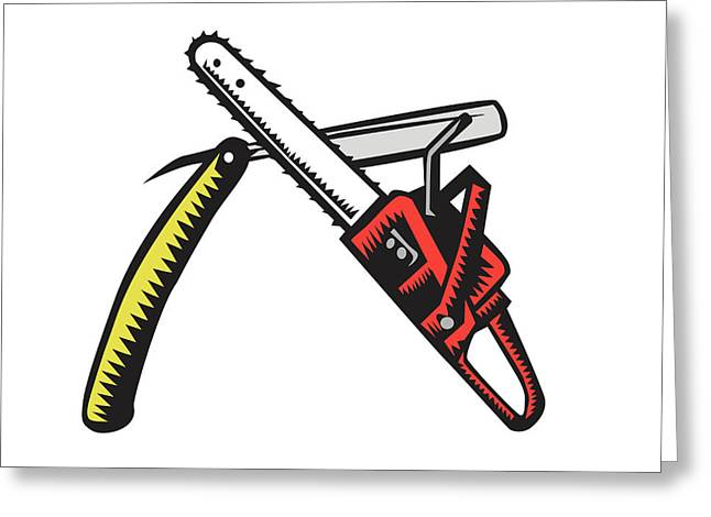 Chainsaw Straight Razor Crossed Woodcut Greeting Card by Aloysius Patrimonio