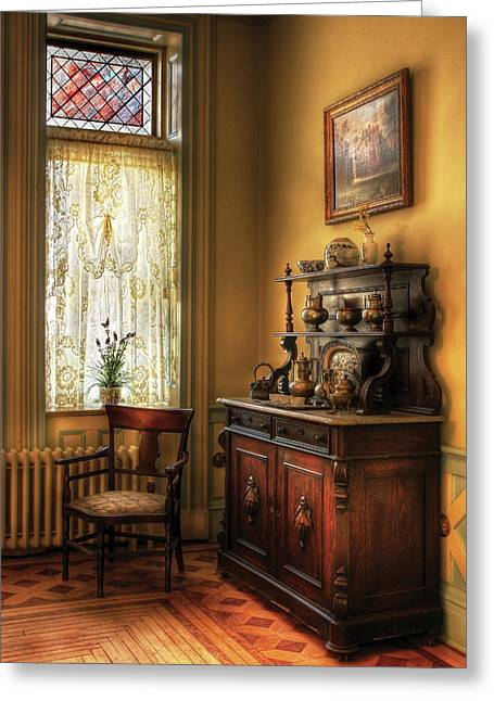 Chair - In The Corner Of Grandma's Kitchen Greeting Card by Mike Savad