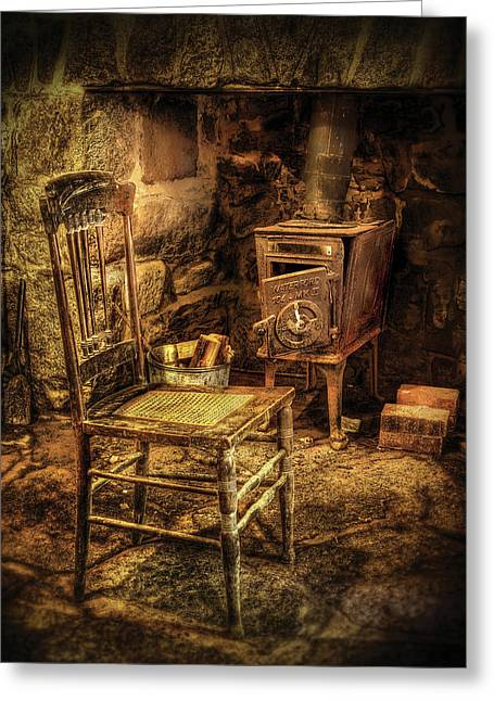 Chair - The Chair And The Stove Greeting Card