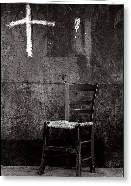 Chair And Cross Chania Crete Greeting Card by Werner Hammerstingl
