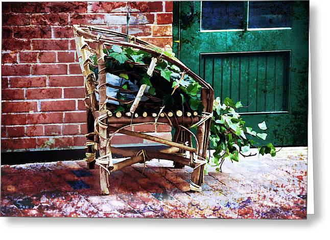Chair And Ivy Greeting Card by Elaine Manley