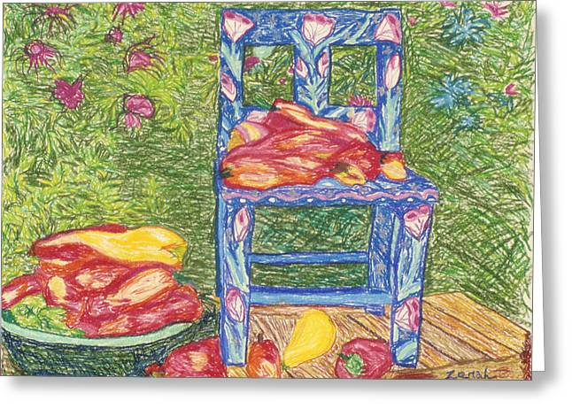 Blue Chair With Peppers Greeting Card by Lorin Zerah