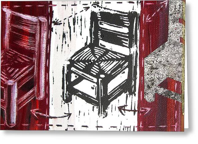 Lino Mixed Media Greeting Cards - Chair V Greeting Card by Peter Allan
