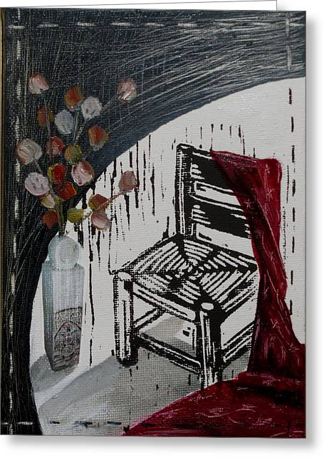 Lino Print Greeting Cards - Chair VIII Greeting Card by Peter Allan
