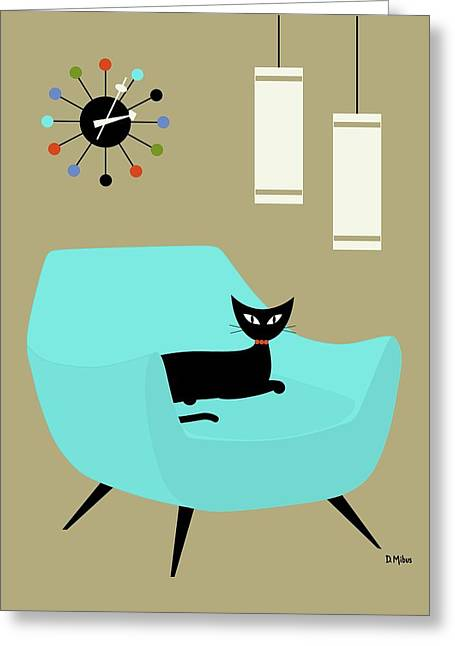 Chair With Ball Clock Greeting Card
