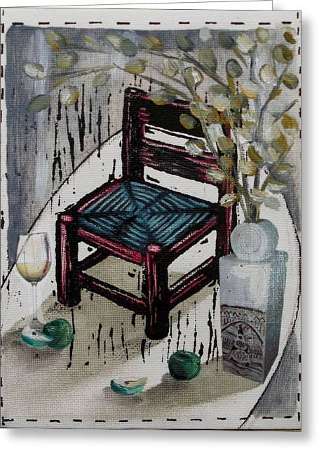Lino Print Greeting Cards - Chair X Greeting Card by Peter Allan