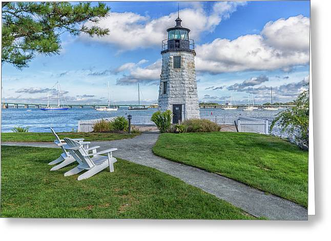 Chairs At Newport Harbor Lighthouse Greeting Card