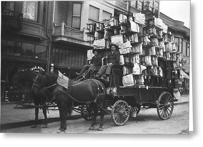 Chairs Delivered By Wagon Greeting Card