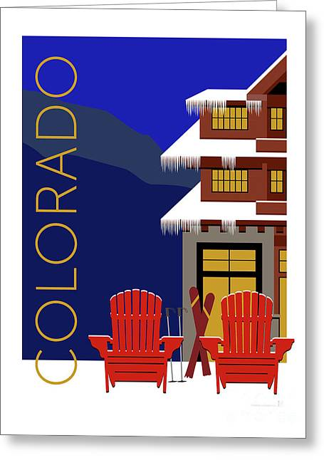 Greeting Card featuring the digital art Colorado Chairs by Sam Brennan
