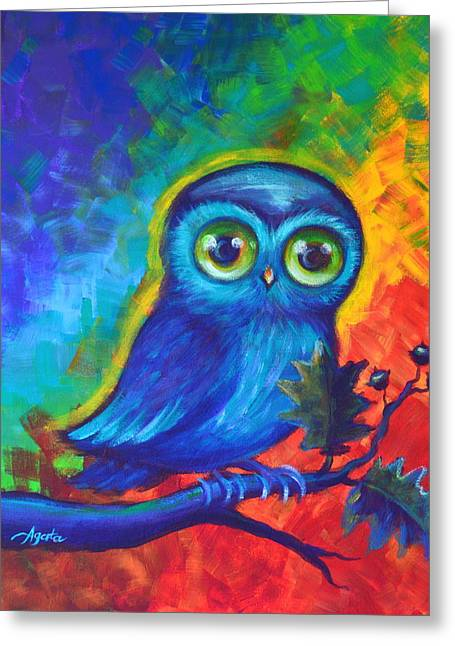 Greeting Card featuring the painting Chakra Abstract With Owl by Agata Lindquist