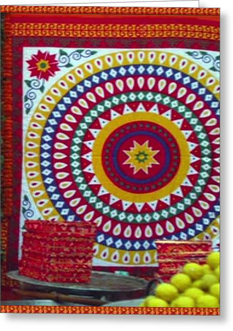 Chakra Large Format Fabric Embroidery Used For Wall Decorations And During Wedding Engagement Temple Greeting Card
