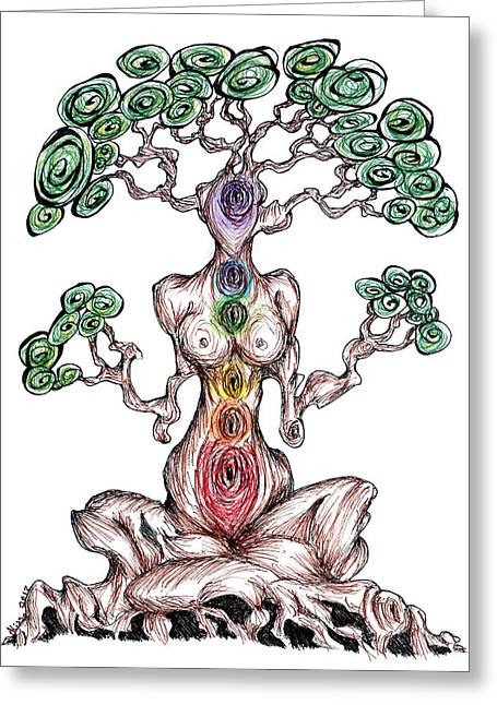 Chakra Tree Greeting Card by Alissa Allery