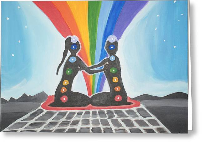 Chakra Union Greeting Card by Djana Fahryeva