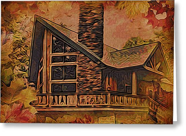 Greeting Card featuring the digital art Chalet In Autumn by Kathy Kelly