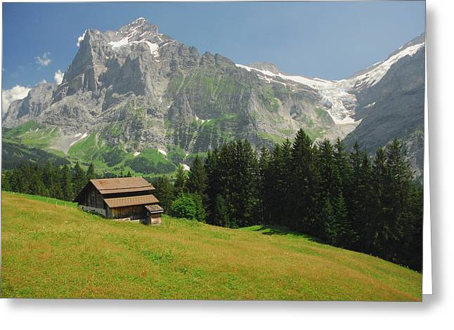 Chalet In Mountain Pasture With Mount Greeting Card by Anne Keiser