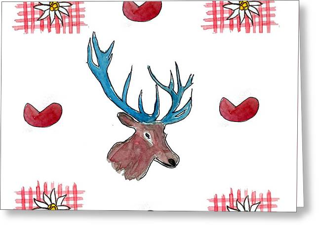 Chalet Style Decoration With Heart, Deer And Edelweiss Greeting Card