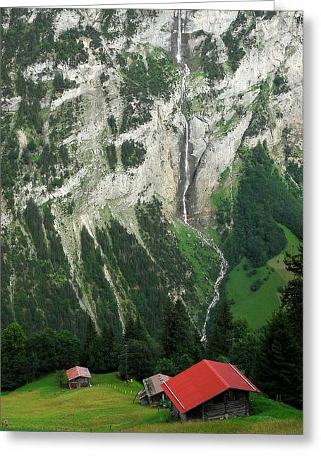 Chalets Overlooking The Lauterbrunnen Greeting Card by Anne Keiser