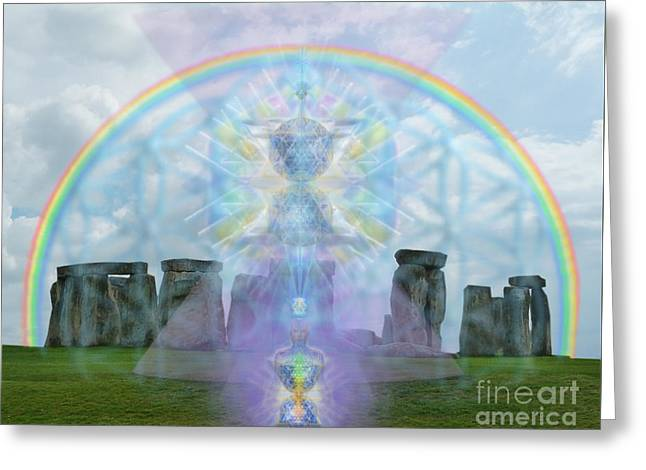 Chalice Over Stonehenge In Flower Of Life And Man Greeting Card by Christopher Pringer
