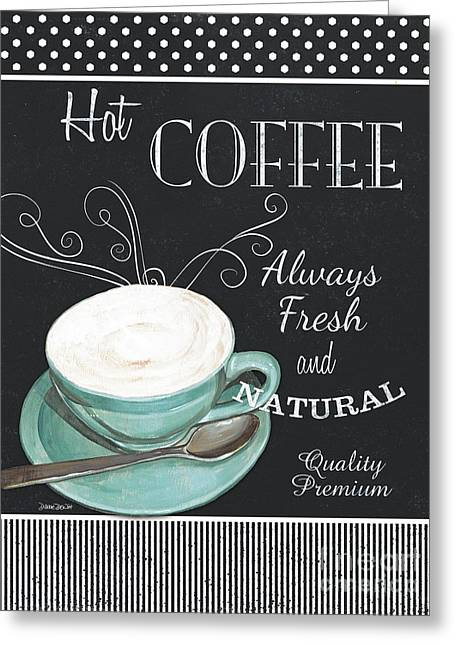 Chalkboard Retro Coffee Shop 1 Greeting Card by Debbie DeWitt