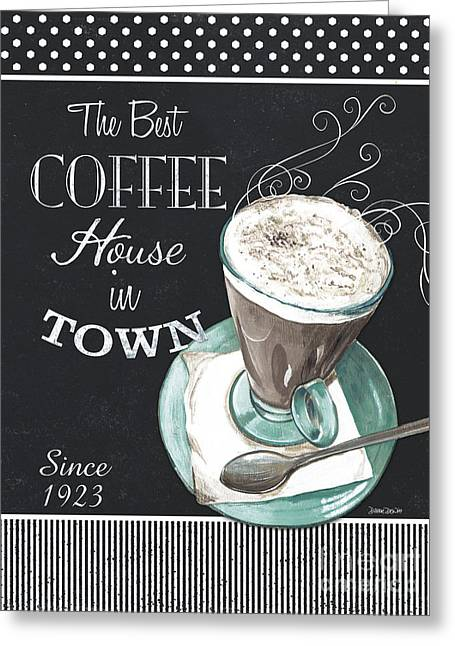 Greeting Card featuring the painting Chalkboard Retro Coffee Shop 2 by Debbie DeWitt