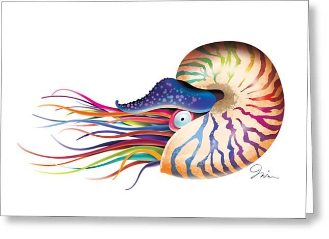 Chambered Nautilus On White Greeting Card