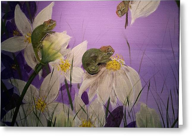 Chameleon Babys By Twilight Greeting Card by Judit Szalanczi