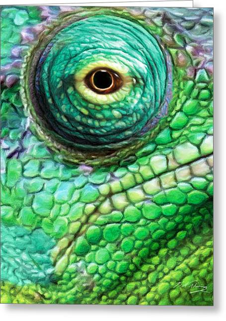 Chameleon Greeting Card by Bill Fleming