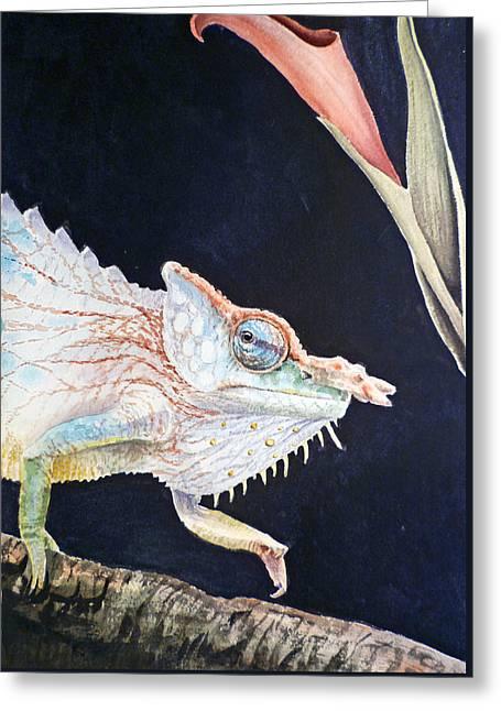 Chameleon Greeting Card by Irina Sztukowski