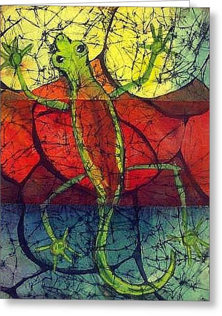Path Tapestries - Textiles Greeting Cards - Chameleon Greeting Card by Kay Shaffer