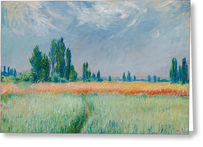 Greeting Card featuring the painting Champ De Ble by Claude Monet