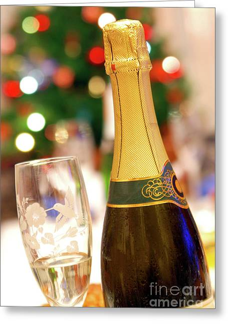 Wine Pour Greeting Cards - Champagne Greeting Card by Carlos Caetano