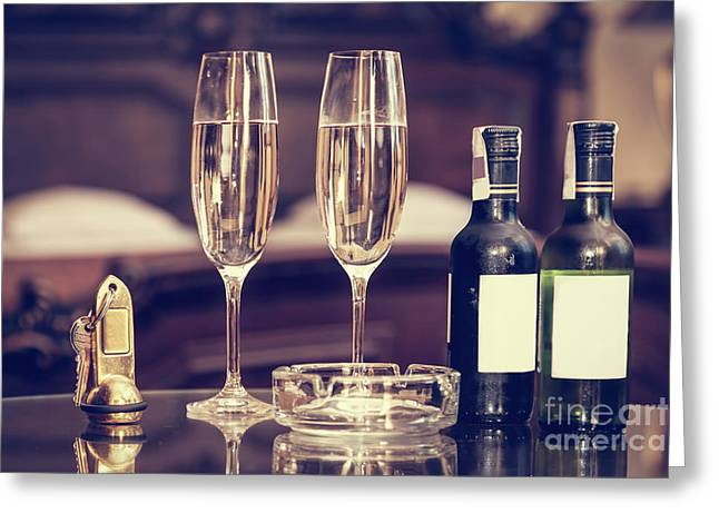 Champagne, Glasses, Antique Keys. Luxury Hotel Apartment, Room Service Greeting Card by Michal Bednarek