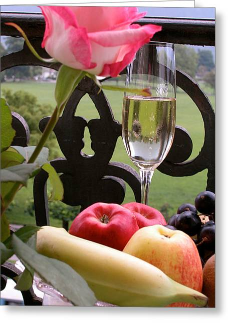 Champagne On The Balcony Greeting Card