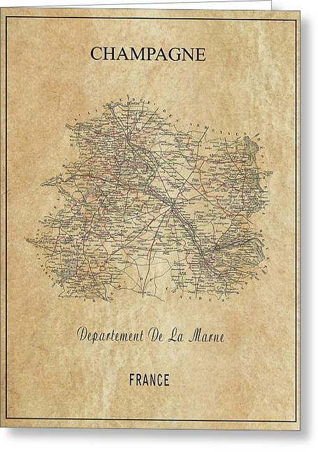Champagne Region Of France Map  1852 Greeting Card
