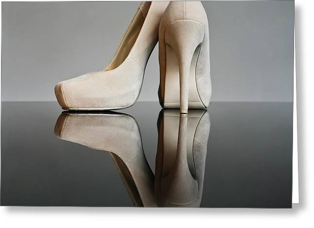 Greeting Card featuring the photograph Champagne Stiletto Shoes by Terri Waters