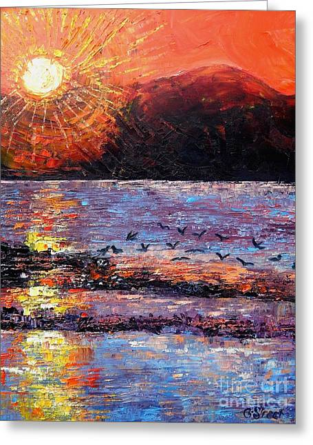 Champagne Sunset.  Greeting Card