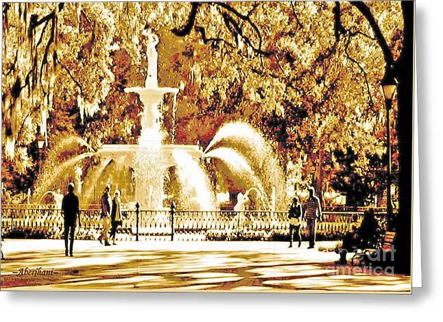 Champagne Twilight Forsyth Park Fountain In Savannah Georgia Usa  Greeting Card